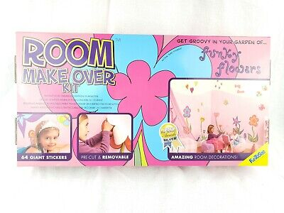 FunToSee Funky Flowers 64 Room Stickers Room Makeover Kit Wall Decals