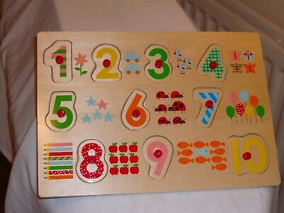 PLAY & GROW WOODEN PUZZLE O UP TO 10 PLUS COUNTING COLOURFUL NOT USED.