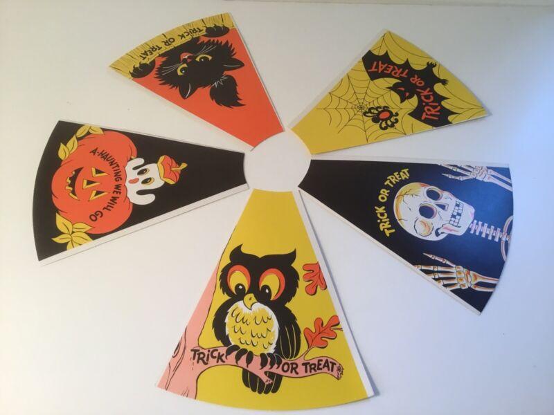 5 Vintage Halloween Cardboard Paper Party Horns Unrolled NOS Owl Cat Bat Ghost