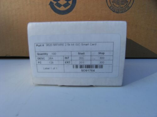 9520 MIFARE 2.5K bit ISO Smart card - Package of 100 cards