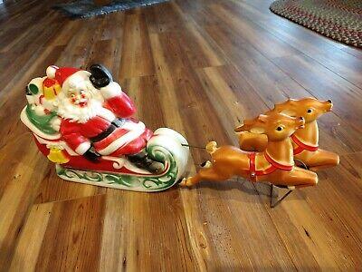 Vintage 1970 EMPIRE Santa in Sleigh & Reindeer light up blow mold NICE!