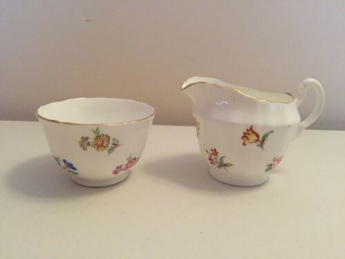 VINTAGE ADDERLEY FINE BONE CHINA ENGLAND FLORAL MINIATURE CREAMER SUGAR