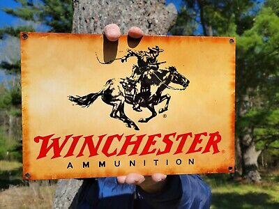 VINTAGE HEAVY WINCHESTER AMMUNITION PORCELAIN ADVERTISING SIGN AMMO REMINGTON