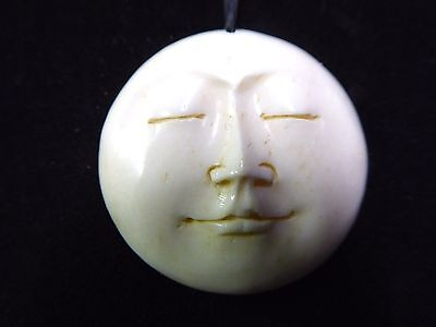 Full Moon Face Eyes Closed Hand Carved Water Buffalo Bone 25mm Pendant Cord  Hand Carvings Pendants