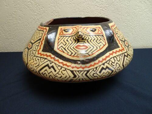 NATIVE INDIAN SHIPIBO POTTERY VESSEL JAR OLLA PERU PERUVIAN AMAZON