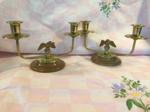 Colonial Style Brass and Wood Eagle Double Candlestick Holders Set 2