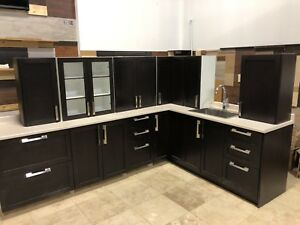 Dark Brown Solid wood kitchen cabinet set