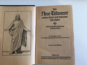 1925 Antique German New Testament & Psalm Bible- LOOK!