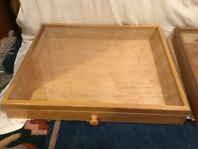 Xl Natural Wood Glass Display Box Case Militaria Medals Jewelry Knife 16 X 19x 3