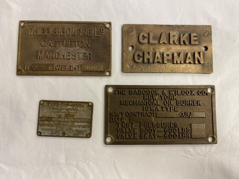 VINTAGE BRASS ID NAME PLATE LOT OF (4)