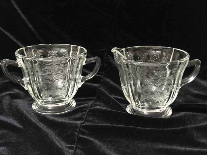Vintage Depression Etched Glass Crystal Clear Pedestal Stemmed Sugar & Creamer