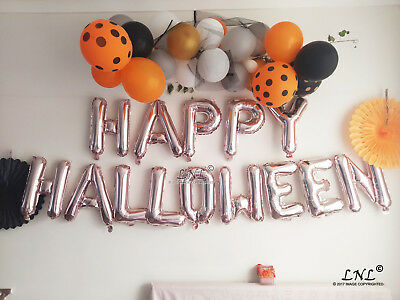 Rose Gold Balloons Happy Halloween Boo Spooky Gold Silver Letters Witches Candy
