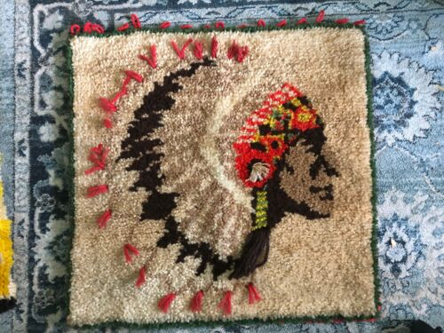 Vintage LATCH HOOK RUG Native American Indian Chief Mid Century MCM 1970