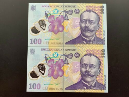 Romania 2 x 100 Lei 2005 (2015) Polymer Banknote UNC, consecutive series