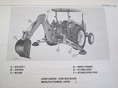 1979 Jd John Deere 1550 Backhoe Parts Catalog Manual