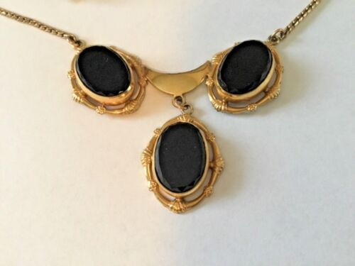 VICTORIAN 12K GOLD-FILLED CM ~ BLACK ONYX NECKLACE & EARRINGS SET~FORGET ME NOTS