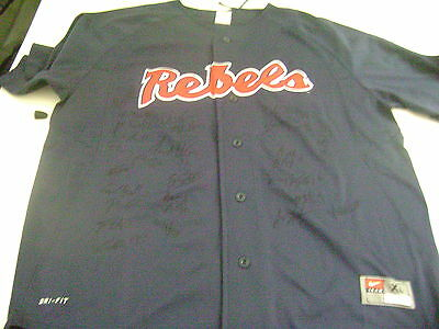2014 Mississippi Rebels Signed Baseball Logo Team Jersey College World Series
