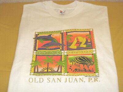 OLD SAN JUAN PUERTO RICO - Dolphins Sailboats Fish Trees Colorful T-Shirt New XL