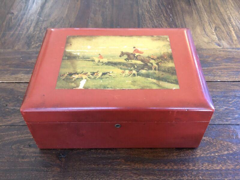 Vintage Fox Hunt Scene Milk Glass Lined Cigar Box Wood Humidor (No Key)
