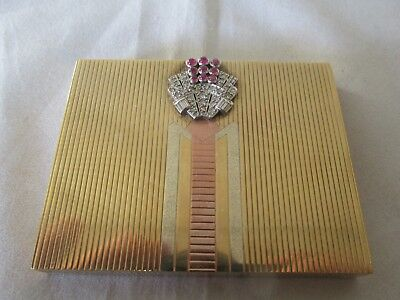 Superb Vintage Asprey Art Deco 9ct gold ruby and diamond powder compact Valn