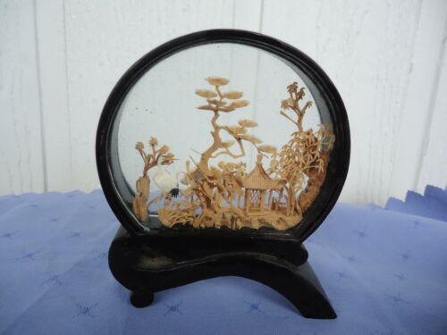 vintage san you  cork art diorama chinese crane