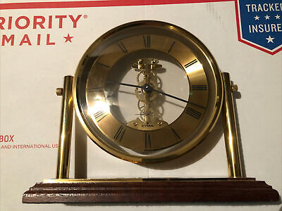 Vintage Brass Cyma Swiss Watch Company Mantle Clock On Stand Rare Beautiful