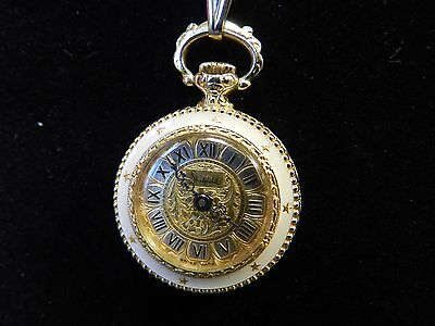 Vintage Sheffield Gold-Filled Pocket Watch Pendant w/ Chain - Swiss Made