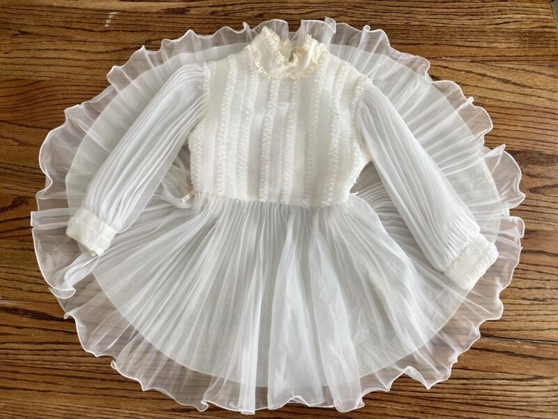 Vtg Girls High Collar Frilly Ruffles Chiffon White/Ivory Pageant Dress Sz 4T-5T?