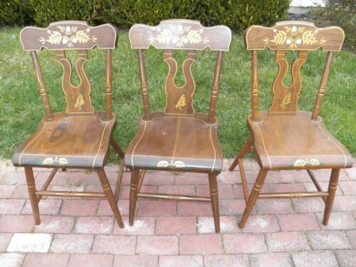 Set Of 3 Stenciled Decorated Plank Seat EBERSOL Chairs PA. 1987 Rustic Primitive