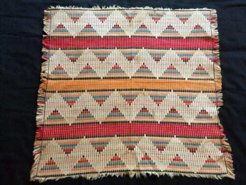 Vintage Finished Embroidered Yarn Mexican Aztec Style Art or Throw Rug 29 x 30