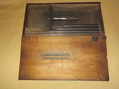 Vintage Antique Tool Brown Sharpe Mfg Micrometer Depth Gage 0-6 In Wood Box