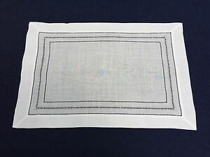 Set of 12 White Linen Cloth Multi Hemstitch Table Placemats 14x20 Inch
