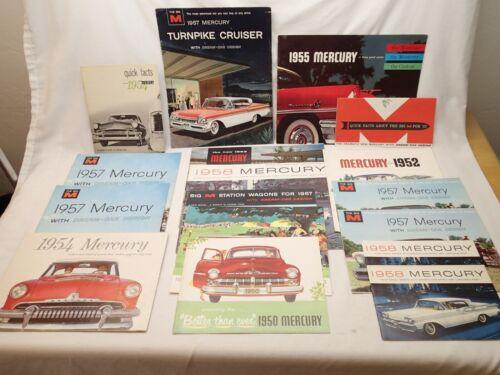 Mercury Lot of 17 Vintage Car Brochures from 1950 1952 1953 1954 1955 1957 1958