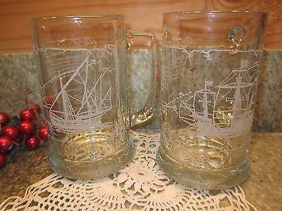 1992 Christopher Columbus Glass Tankards/Mugs Nina & Santa Maria set of 2