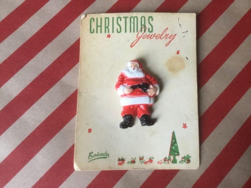 VINTAGE 1950s Santa Claus FULL BODY PIN Brooch HARD PLASTIC Original card