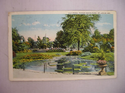 Vintage Postcard The Lily Pond At Tower Grove Park St  Louis Missouri 1923