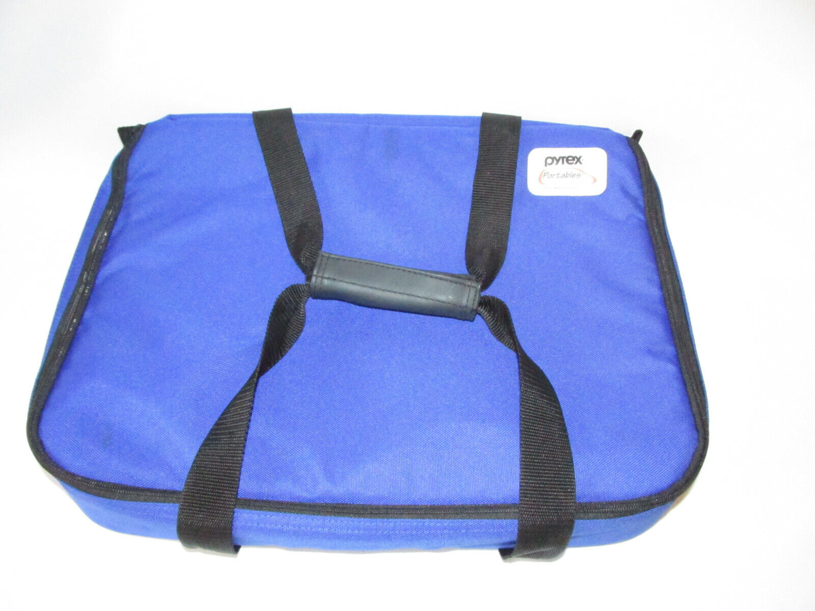 """Pyrex Portables Casserole Carrier Bag Insulated Hot Cold Blue Straps 12"""" X 16"""""""