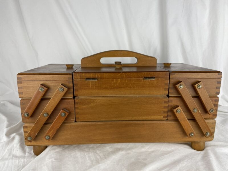 Vintage Small 3- Tier Fold Out Accordion Wood Dovetail Sewing Box - Romania