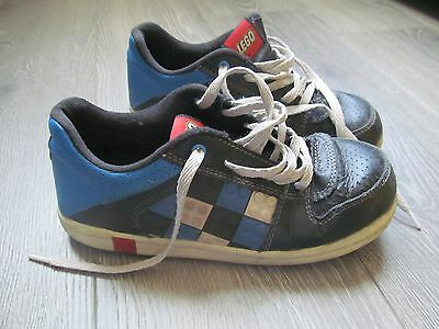 RARE boys kids LEGO bricks shoes sneakers lace up black blue sz 2 youth leather  (Lego Boys Shoes)