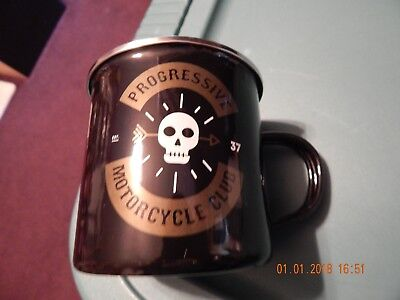 Progressive Insurance Flo Motorcycle Club Tin Coffee Beverage Mug Cup Nwt