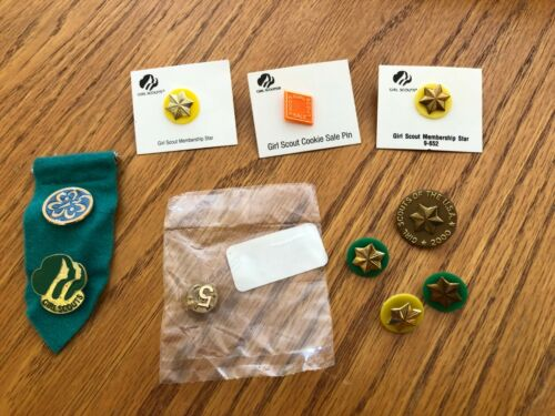 Girl Scout Pins Assortment - 10 Pins + Flap