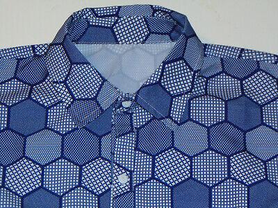 1970s Mens Shirt Styles – Vintage 70s Shirts for Guys MEN'S VINTAGE 1970s CUSTOM MADE POLY GEOMETRIC PATTERN LONG SLEEVE SHIRT! L LONG $43.99 AT vintagedancer.com