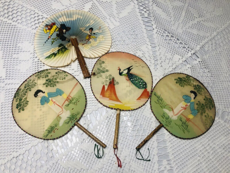 VINTAGE Lot of 3 Chinese Silk w Bamboo Hand Painted Paddle Fans + 1 Folding Fan