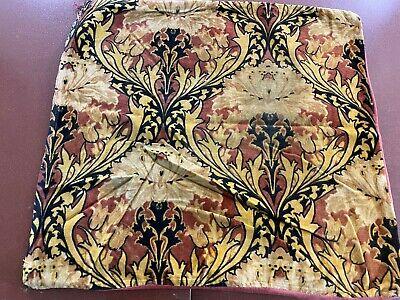1915 Art Nouveau Velvet Pillow Cover-20x21- Peonies-Cream,Beige,Brick- SALE