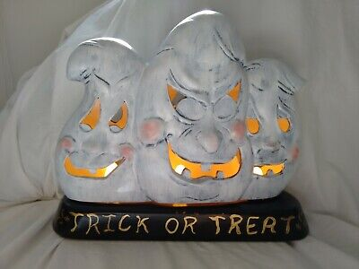 3 Ghost Trick Or Treat Display Lighted Ceramic Mold 1996 Hand Painted Halloween
