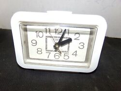 Vintage Timex 7419-4 White Wood-Look Lighted Dial Alarm Clock SHIPS FREE!
