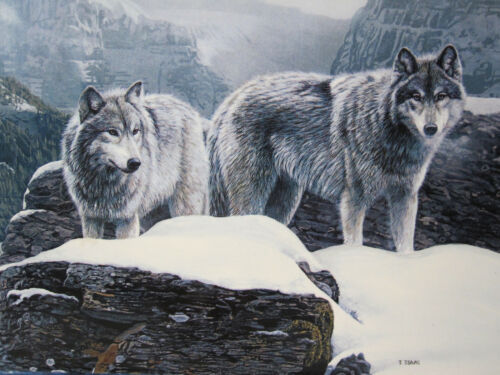 """Bradford Exchange """"Devotion"""" Wolves 4th Issue Lifemates by Terry Issac LimitedEd"""