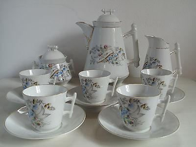 Antik Kaffeeservice 5 Personen Kaffeekanne Blumen Jugendstil Shabby Landhaus