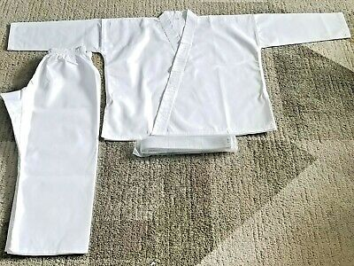 NEW Karate Uniform White Gi Adult Kids w/White belt. Martial Arts MMA.00/140