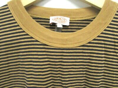"""Worn Once! Men's ARMOR LUX Blue & Brown Nautical Stripe T Shirt LARGE 42"""" chest"""